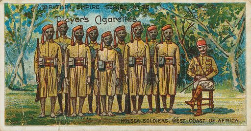 Houssa Soldiers, West Coast of Africa. Illustration for early 20th century cigarette card.