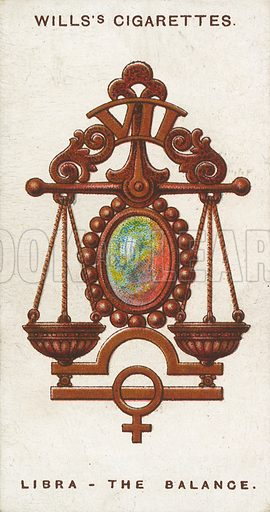 Libra - The Balance. Illustration for early 20th century cigarette card.