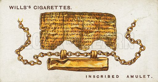 Inscribed Amulet. Illustration for early 20th century cigarette card.