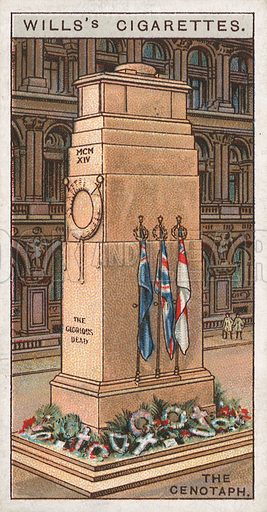 The Cenotaph. Illustration for early 20th century cigarette card.