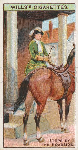 Steps by the Roadside. Illustration for early 20th century cigarette card.