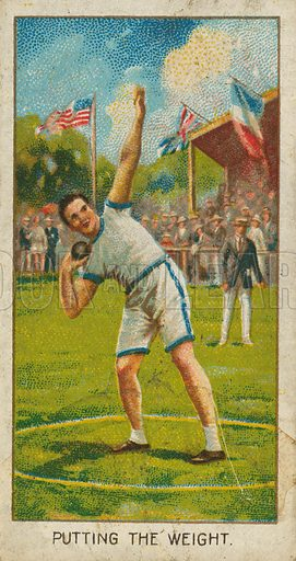 Putting the Weight. Illustration for early 20th century cigarette card.
