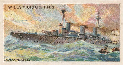 Indefatigable. Illustration for early 20th century cigarette card.