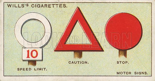 Motor Signs. Illustration for early 20th century cigarette card.