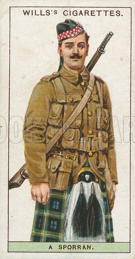 A Sporran. Illustration for early 20th century cigarette card.