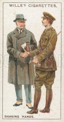 Shaking Hands. Illustration for early 20th century cigarette card.