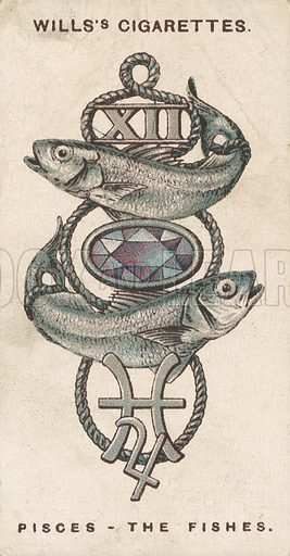 Pisces - The Fishes. Illustration for early 20th century cigarette card.