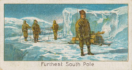 Furthest South Pole. Illustration for early 20th century cigarette card.