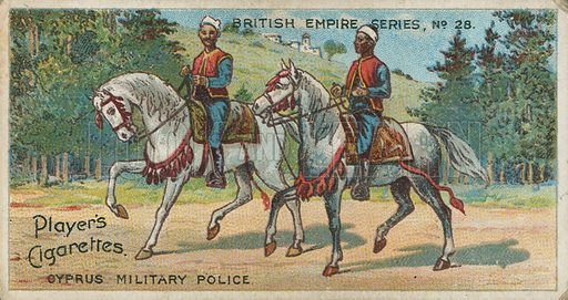 Cyprus Military Police. Illustration for early 20th century cigarette card.
