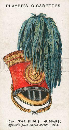 15th the King's Hussars; Officer's Full Dress Shako, 1834. Illustration for early 20th century cigarette card.