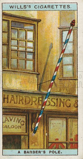 A Barber's Pole. Illustration for early 20th century cigarette card.