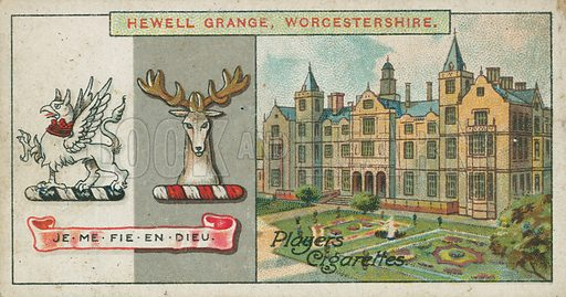 Hewell Grange, Worcestershire. Illustration for early 20th century cigarette card.