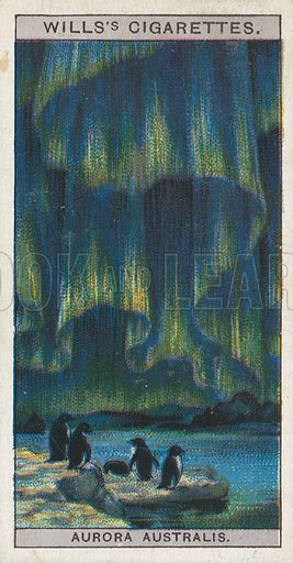 Aurora Australis. Illustration for early 20th century cigarette card.