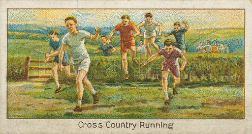 Cross Country Running. Illustration for early 20th century cigarette card.