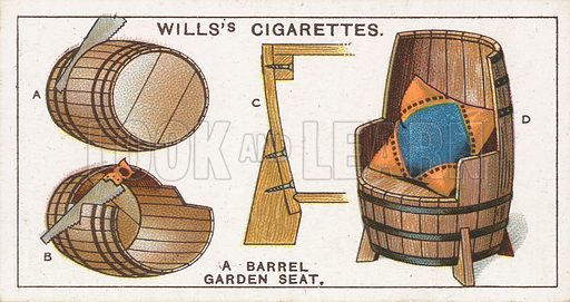 A Barrel Garden Seat. Illustration for early 20th century cigarette card.
