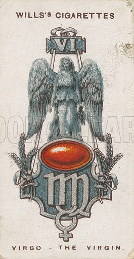 Virgo - The Virgin. Illustration for early 20th century cigarette card.