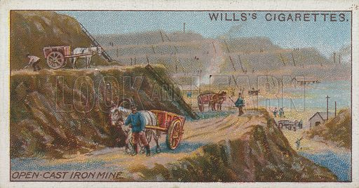 Open-Cast Iron Mine. Illustration for early 20th century cigarette card.