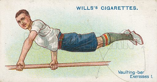 Vaulting-Bar Exercises 1. Illustration for early 20th century cigarette card.