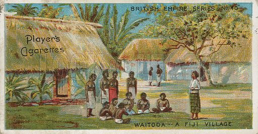 Waitooa -- A Fiji Village. British Empire. Illustration for early 20th century cigarette card.