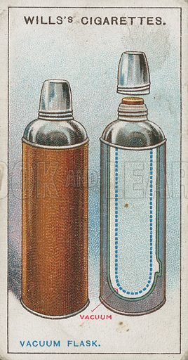 Vacuum Flask. Illustration for early 20th century cigarette card.
