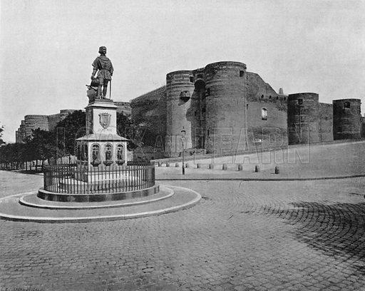 Angers - La Statue du Roi Rene et le Chateau. Photograph for Le Panorama Merveilles de France (De Neurdein, c 1895).