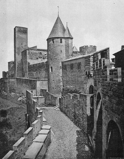 Cite de Carcassonne - La Tour de Justice. Photograph for Le Panorama Merveilles de France (De Neurdein, c 1895).