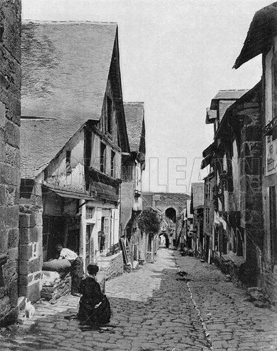 Bretagne - La Rue de Jerzual a Dinan. Photograph for Le Panorama Merveilles de France (De Neurdein, c 1895).