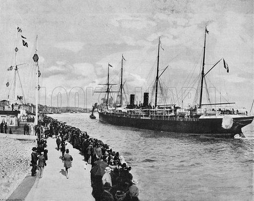 Le Havre - L'Arrivee D'Un Transtlantique. Photograph for Le Panorama Merveilles de France (De Neurdein, c 1895).
