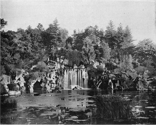 Paris - La Grande Cascade du Bois de Boulogne. Photograph for Le Panorama Merveilles de France (De Neurdein, c 1895).