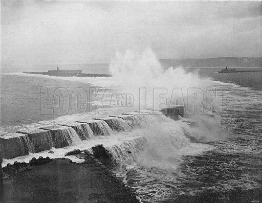 Alger - L'Entree du Port un Jour de Tempete. Photograph for Le Panorama Merveilles de France (De Neurdein, c 1895).