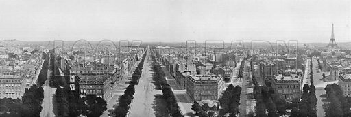 Panorama de Paris, Vu du Haut de L'Arc de Triomphe. Photograph for Le Panorama Merveilles de France (De Neurdein, c 1895).