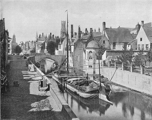 Bruges - Le Quai du Rosaire. Photograph for Le Panorama Merveilles de France (De Neurdein, c 1895).
