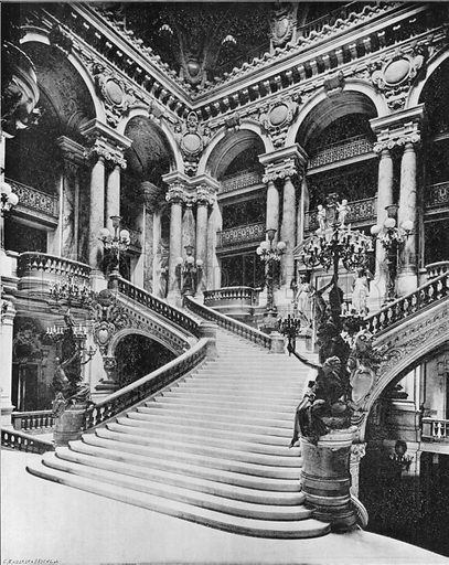 Paris - Le Grand Escalier de L'Opera. Photograph for Le Panorama Merveilles de France (De Neurdein, c 1895).