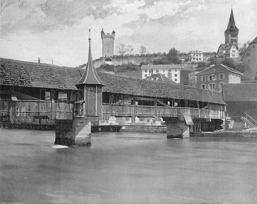 Lucerne - Le Pont des Moulins. Photograph for Le Panorama Merveilles de France (De Neurdein, c 1895).