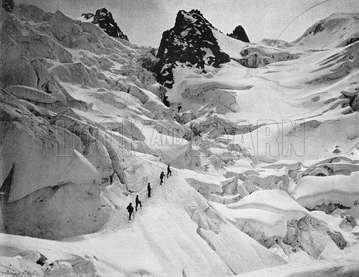 L'Ascension des Grands-Mulets - Passage a la Jonction. Photograph for Le Panorama Merveilles de France (De Neurdein, c 1895).