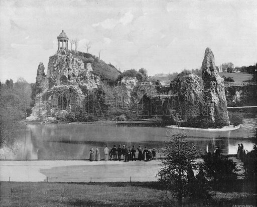 Paris - Le Parc des Buttes-Chaumont. Photograph for Le Panorama Merveilles de France (De Neurdein, c 1895).