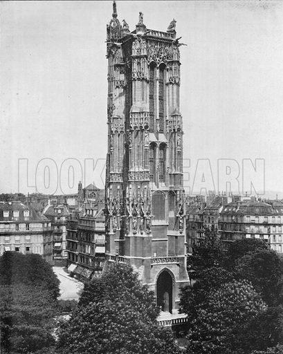 Paris - La Tour Saint-Jacques. Photograph for Le Panorama Merveilles de France (De Neurdein, c 1895).