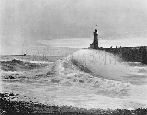 Le Treport - La Jetee Par un Gross Temps. Photograph for Le Panorama Merveilles de France (De Neurdein, c 1895).
