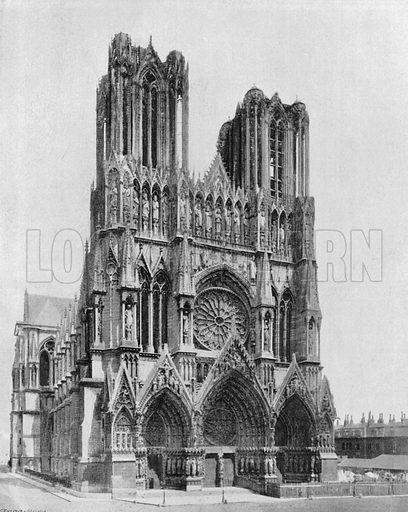 Cathedrale de Reims - Le Portail. Photograph for Le Panorama Merveilles de France (De Neurdein, c 1895).