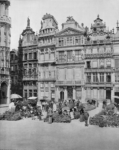 Bruxelles - Les Maisons des Corporations. Photograph for Le Panorama Merveilles de France (De Neurdein, c 1895).
