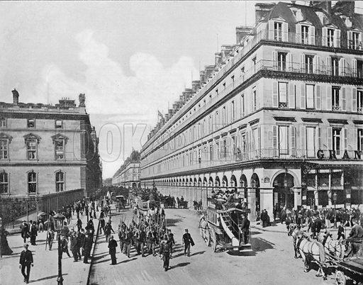 Paris - La Rue de Rivoli. Photograph for Le Panorama Merveilles de France (De Neurdein, c 1895).