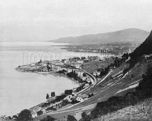 Montreux et le Lac Geneve. Photograph for Le Panorama Merveilles de France (De Neurdein, c 1895).