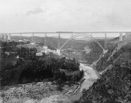 Le Viadug de Garabit. Photograph for Le Panorama Merveilles de France (De Neurdein, c 1895).