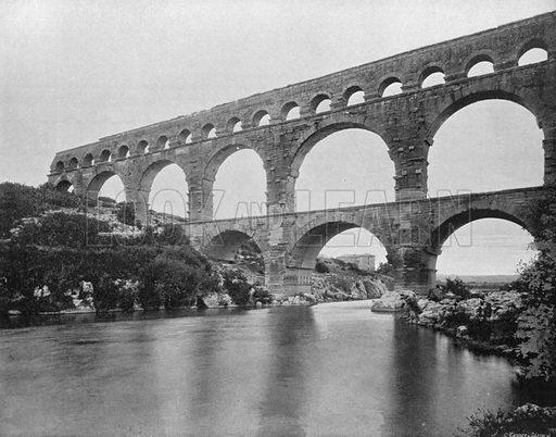 Nimes - Le pont du gard. Photograph for Le Panorama Merveilles de France (De Neurdein, c 1895).