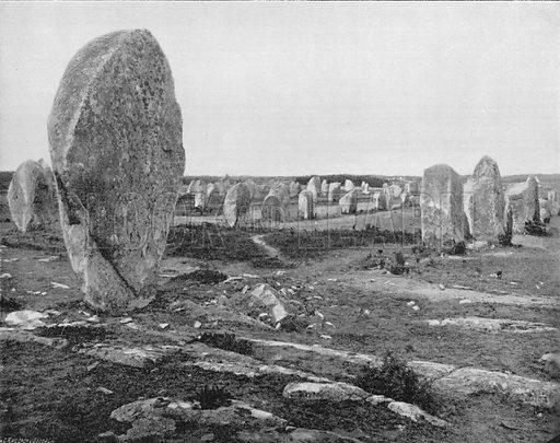 Carnac - Les Alignements de Menec. Photograph for Le Panorama Merveilles de France (De Neurdein, c 1895).