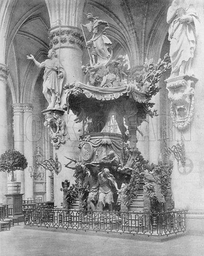 Bruxelles - La Chaire de L'Eglise Sainte-Gudule. Photograph for Le Panorama Merveilles de France (De Neurdein, c 1895).