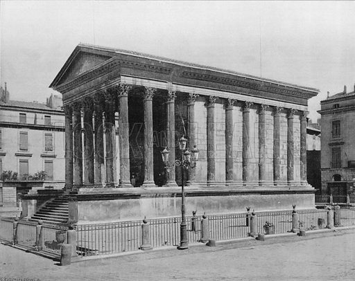 Nimes - La Maison Carree. Photograph for Le Panorama Merveilles de France (De Neurdein, c 1895).