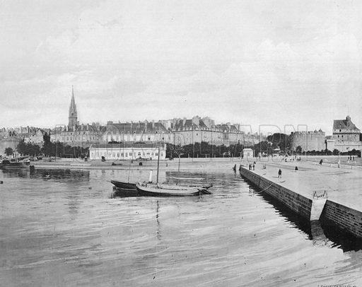 Saint-Malo - Le Bassin a Flot et le Chateau. Photograph for Le Panorama Merveilles de France (De Neurdein, c 1895).