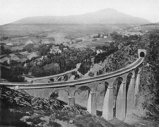 Ligne de la Mure - Les Viadugs de Loulla. Photograph for Le Panorama Merveilles de France (De Neurdein, c 1895).