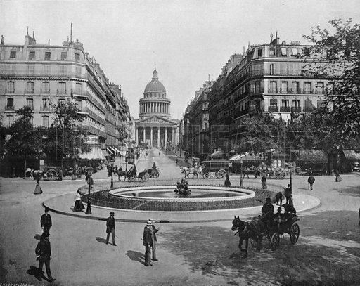 Paris – La Place Medicis, La Rue Soufflot et le Pantheon. Photograph for Le Panorama Merveilles de France (De Neurdein, c 1895).